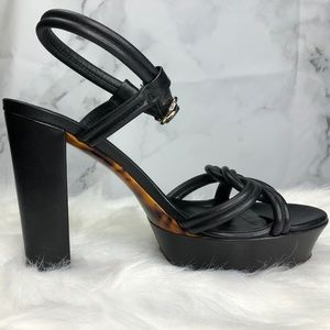 GUCCI Black Leather Knot Platform Sandal Tortoise